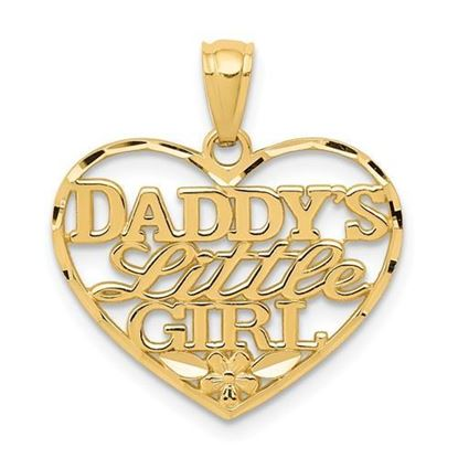 14k Yellow Gold Daddys Little Girl Heart Pendant