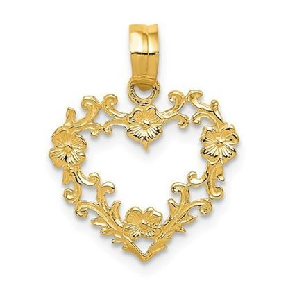 14K Yellow Gold Floral Border Heart Pendant