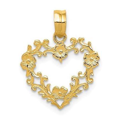 14K Yellow Gold Floral Border Heart Pendant