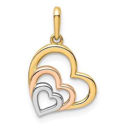 14K Yellow, Rose and White Gold Hearts Pendant