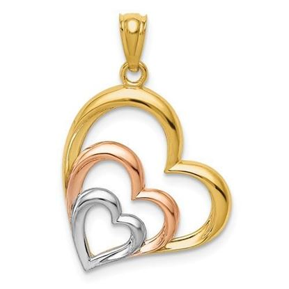 14K Yellow, White and Rose Gold Hearts Pendant