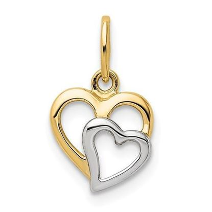 14KYellow and White Gold Hearts Pendant
