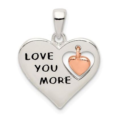 Sterling Silver and Rose Enamel LOVE YOU MORE Heart Pendant
