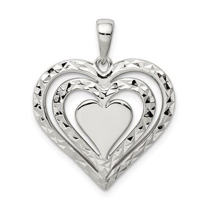 Sterling Silver Diamond-cut Heart Pendant